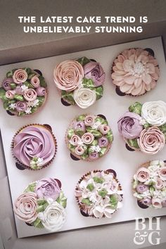 Buttercream flowers are blossoming on almost every cake and they look too pretty to eat. With delicate petals, intricate layers, and the softest of colors, these beauties are truly the product of a culinary artist. Cupcakes Flores, Floral Cupcakes, Floral Cake, Cupcakes Design, Cake Designs, Buttercream Flower Cake, Buttercream Frosting, Icing, Buttercream Flowers Tutorial