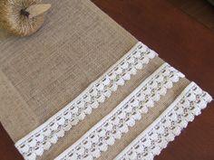 Burlap table runner with cotton crochet lace rustic table decor vintage decoration