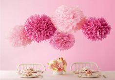 Paper Pom Poms Wedding www.theweddingofm... #wedding #decorations