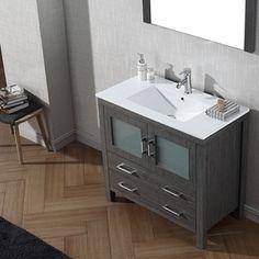 Gallery One Virtu USA Dior inch Single Sink Vanity Set in Zebra Grey Overstock Shopping