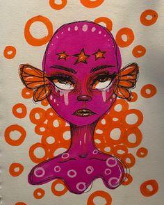 Indie Drawings, Art Drawings Sketches Simple, Arte Indie, Deep Art, Grunge Art, Art Diary, Mini Canvas Art, Funky Art, Hippie Art