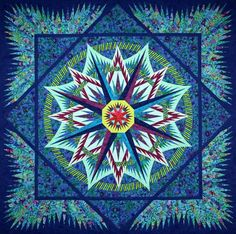 Mariners Compass, Quiltworx.com, Made by Susie Jacobs at a class with CI Lucille Amos at Sew Original in Winston-Salem, NC.