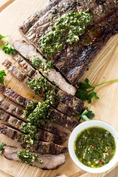 Juicy and delicious, this classic Argentine chimichurri steak is first marinated in flavorful and colorful chimichurri sauce then grilled to perfection that packs a ton of flavor. Grilled Beef, Grilled Chicken Recipes, Steak Recipes, Barbecue Recipes, Grilling Recipes, Bbq, Steaks, Recipe Using Cilantro, Skirt Steak