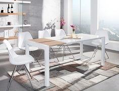 Design Uitschuifbare Eettafel X8 Wit / Eiken - Eettafels - Tafels