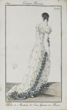 A most beautiful court dress. I have this plate in my collection, but not in such good condition, 1809 costume parisien