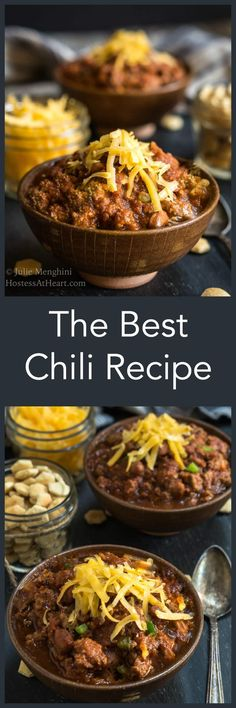 The Best Chili Recipe - will change the way you make chili from now on. It has a secret ingredient that takes this dish to the next level. It's easy to make and makes enough for a crowd : HostessAtHeart Best Chili Recipe, Chilli Recipes, Meat Recipes, Mexican Food Recipes, Crockpot Recipes, Dinner Recipes, Cooking Recipes, Recipies, Chili Recipe Crockpot Best