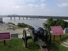 This is the Widow Blakely cannon. It was used during the Civil War to defend Vicksburg. Today it overlooks the Mississippi River and the bridges that cross over it.