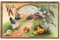 Vintage 1910s Embossed Easter Greetings Postcard. Features a hen and chicks, along with a Pussy Willow branch. Farm scene in the background. Card number 279. Card is used with pencil writing on the ba