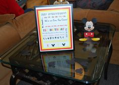 Created my own Subway art & printed off Mickey candy boxes from Disney Jr's website (put red & yellow Skittles in the boxes)