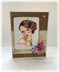 BS-Cameo by beadn&stampn - Cards and Paper Crafts at Splitcoaststampers Art Impressions Stamps, Copics, Paper Flowers, Paper Crafts, Html, Frame, Cards, Prints, Challenge