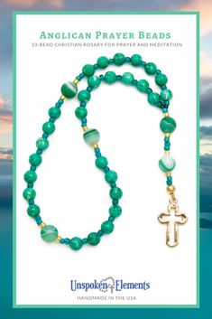Anglican Prayer Beads, Christian rosary for prayer and meditation by Unspoken Elements. Handmade in the USA of green agate gemstones with a gold cross. Makes a wonderful gift for baptism, confirmation, recovery or healing. Diamond Initial Necklace, Letter Necklace, Dainty Necklace, Beaded Necklace, Pendant Necklace, Healing Prayer, Prayer Beads, Rosary Beads, Green Agate