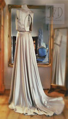 Joanne Fleming Design: 'Souvenir de la Malmaison' collection; 'Lisette' oyster silk crepe satin wedding gown
