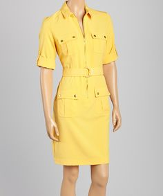 Loving this Sharagano Yellow Flap Pocket Belted Dress on #zulily! #zulilyfinds