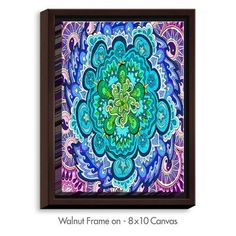 """DiaNocheDesigns 'Mystic Mandala' by Rachel Brown Graphic Art on Wrapped Framed Canvas Frame Color: Walnut, Size: 41.75"""" H x 31.75"""" W x 1.75"""" D"""