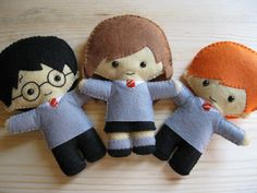 Harry, Hermione and Ron felt dolls, by HappyAkindo.