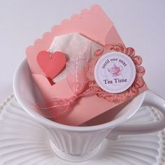 Here's a close up of the Tea Party Favor that I made for the Lovely Ladies' Tea Party .    I added a heart-shaped tag to the end of an Earl ...