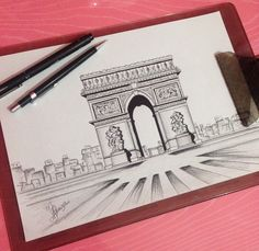 Keep A Sketchbook And Have Fun - Drawing On Demand Pretty Drawings, Cool Art Drawings, Architecture Arc, Paris Drawing, Architecture Drawing Sketchbooks, France Drawing, Architect Drawing, Vanishing Point, Perspective Drawing