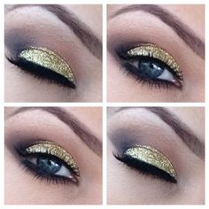 Gorgeous eye makeup that you're sure to love wearing. Gold Eye Makeup, Smokey Eye Makeup, Hair Makeup, Glitter Eyeshadow, Cool Makeup Looks, Diy Beauty Treatments, Make Up Tricks, Makeup Is Life, Beauty Cream