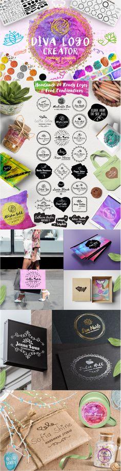 Diva Handdrawing Feminine Logo Creator + Extras Ladyboss Trends