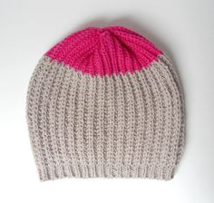 Merino Knit Beanie, Slouchy Knit Hat, Rosa Colorblock sombrero, gorrita tejida Slouchy Knit, tejer sombrero, sombrero de punto, harina de av...