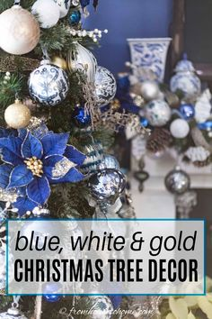 I love this blue and white Christmas tree decor. The garland over the fireplace mantle is beautiful, too. #fromhousetohome #christmastree #christmasdecor #xmas #christmastree  #bluechristmasdecor Blue Christmas Tree Decorations, Elegant Christmas Trees, White Christmas Ornaments, Beautiful Christmas Trees, Christmas Bulbs, Xmas, Christmas Holiday, Party, Decor Ideas