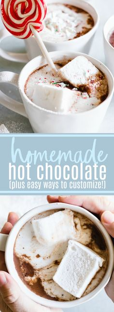 Homemade Hot Chocolate. Warm up with this easy to put together creamy, silky, hot chocolate. Customize with your favorite additions for a personalized treat! #hotchocolate #chocolate #drinks #christmas