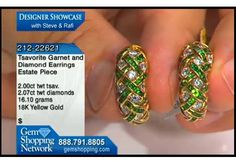 These stunning designer earrings are tsavorite and diamonds set in 18k yellow gold from our South Beach Collection.