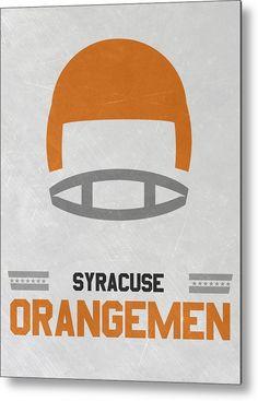 Orangemen Metal Print featuring the mixed media Syracuse Orangemen Vintage Football Art by Joe Hamilton
