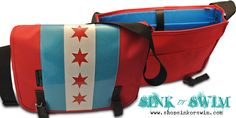 Chicago Flag Messenger Bag Fullerton $125   www.shopsinkorswim.com  #chicagoflag