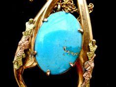 Art Deco Turquoise Lavalier Necklace Gold Filled Dangle Pendant Art Deco Era   eBay