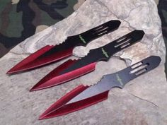 "Perfect Point Throwing Knife Set 3 PC 5.5"" W/ Red Edge - 5953RD"