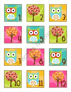 Owl Collection Calendar Numbers from Schoolgirl Style on TeachersNotebook.com (3 pages)