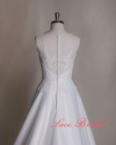 Gorgeous Lace Wedding dress Bateau Neck Bridal gown by LaceBridal