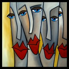 Step Aside - Original Large Abstract Contemporary Modern Art FACES Painting by Fidostudio via Etsy