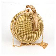 dd4b2bb577 Fashion Golden Round ball Wristlets Women Clutch Evening Bag. Wedding Purse,  Wedding Bride, Women's Clutches & Evening Bags, Chain Shoulder ...