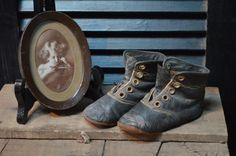 ✿ bluefolkhome on etsy ✿  Antique Child's Leather Shoes 1890 Children Baby's  Leather Laced Boots Leather Shoes  I Ship Globally