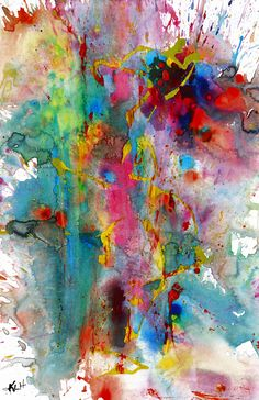 """For Sale: Chaotic Craziness Series 1991.033014 - Original Abstract Painting by Kris Haas   $100   11""""w 17""""h   Original Art   https://www.vangoart.co/buy/art/chaotic-craziness-series-1991-033014-original-abstract-painting"""