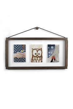 """The classic frame gets redesigned. A cord is designed along the perimeter - instead of behind it - allowing you to frame your art or photos in any orientation. Holds 3 4 x 6"""" photos (horizontally) or 2 5 x 7"""" photos (vertically). Mounting hardware included. Display horizontally or vertically just pull the rope to hang on hook Perfect for hanging art photos and special papers  Holds 3 4 x 6"""" (10.2 x 15.2 cm) photos horizontally or 2 5 x 7"""" (12.7 x 17.8 cm) photos vertically Wooden frame with…"""