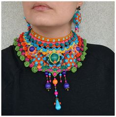 statement tribal choker,colorful ethnic necklace,ooak freeform crochet jewellery,oversized green orange turquoise necklace,mandala chocker