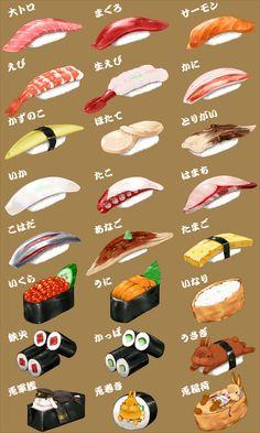 Sushi (cartoon food hand account illustrator)<<< These are adorable Menu Sushi, Sushi Party, Sushi Food, Sushi Drawing, Food Drawing, Desserts Drawing, Dessert Illustration, Cute Food Art, Watercolor Food