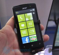 Acer Smartphone running Windows Phone 7 with green design