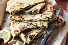 """<3 """"Gozleme""""   Try your hand at making this rustic Turkish snack stuffed with silverbeet and salty feta.Once these moreish parcels are off the barbie, devour them hot with a squeeze of lemon."""