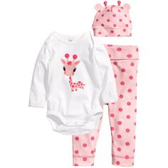 Jersey Set with Printed Design $12.95 ($13) ❤ liked on Polyvore featuring baby girl clothes, baby, girls, children and kids