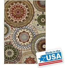 Area Rug 8' x 10' Contemporary Style Green Red Tan Medallion Design Mohawk Home Carpet