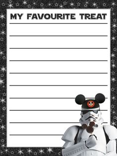 "My favourite treat (UK spelling) - Stormtrooper with mickey bar & mouse ears - Star Wars Weekends - Project Life Journal Card - Scrapbooking ~~~~~~~~~ Size: 3x4"" @ 300 dpi. This card is **Personal use only - NOT for sale/resale** Stormtrooper with Mickey bar is from a Star Wars Weekends poster. Star Wars/mouse ears/mickey bar/stormtrooper/ belong to Disney. Font is Star Jedi www.dafont.com/star-jedi.font *** Click through to photobucket for more versions of this card with US spelling ***"