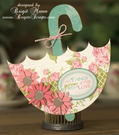 During Christmas, Brigit used the SHAPED CHRISTMAS CARDS and created the cutest set of cards.  Now, she's going to excite us with the SHAPED CARDS AND ENVELOPE KIT starting with the gorgeous Umbrella Card, perfect for your loved one!  Or how about for a bridal shower or for a baby!  Awesome, Brigit!