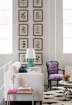 Chair upholstered in Madeline Weinrib Purple Luce Ikat Fabric and Endless Tibetan Carpet. Designer Diane Bergeron
