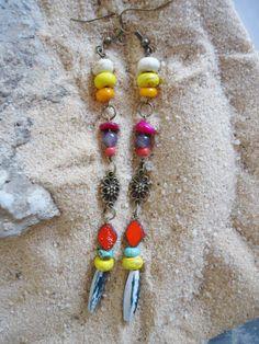 Long Hippie dangle earrings colorful beaded by TheBeadedPaths, $14.00