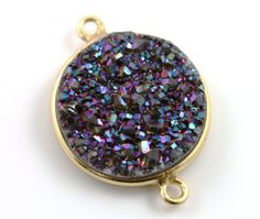Black Purple Druzy Crystal Cluster Bezel Coin by Beadspoint, $12.99