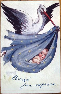 1910 Stork with Baby Postcard